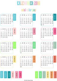 Nouveau calendrier 2016 pour agenda à imprimer. https://www.etsy.com ...