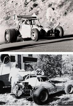 Paul Newman in a N/D race car at the Pikes Peak Hill Climb
