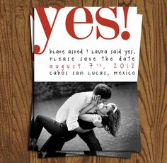 Save The Date Wedding Invitation Cards - She Said Yes Collection. $15.75, via Etsy.