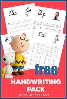 Kostenlose Erdnüsse Handschrift druckbare Set – Print und Cursive Edition Hurry and grab these super cute Peanuts Handwriting printable set – print and cursive edition for FREE! - fonts and calligraphy