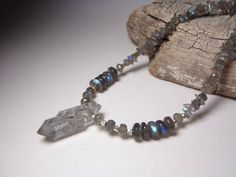 Tribal Labradorite Necklace with a Tibetan quartz