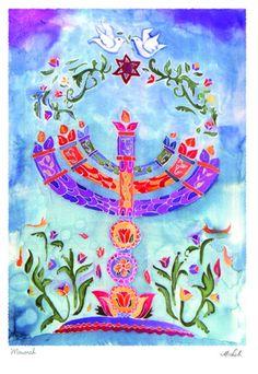 Menorah, Greeting Card, Perfect for a Bat Mitzvah