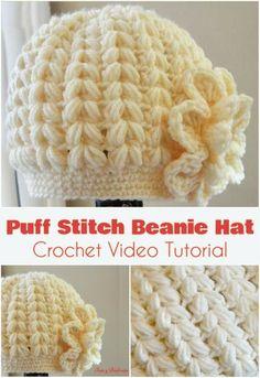 Crochet beanie puff stitch hat tutorial new Ideas Crochet Beanie Pattern, Crochet Cap, Crochet Baby Hats, Crochet Stitches, Knitted Hats, Crochet Patterns, Free Crochet, Puff Stitch Crochet, Crochet Videos