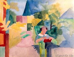 August Macke - Garten mit lesender Frau (am Thuner See)