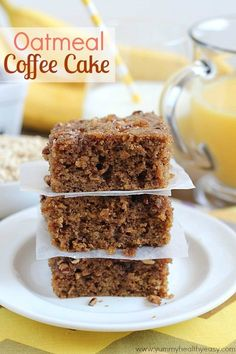 "maybe not healthy but ""healthier"">Oatmeal Coffee Cake - delicious breakfast cake made using oatmeal for the moistest cake you'll ever eat! Great for not only breakfast, but dessert too! Just Desserts, Delicious Desserts, Yummy Food, Sweet Recipes, Cake Recipes, Dessert Recipes, Brunch Recipes, Food Cakes, Cupcake Cakes"
