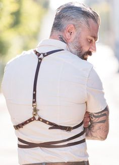 Our leather accessories are taking a bit of a bondage edge. Marrying a bit of punk back to our classic Americana - leather - Antique brass hardware strap One size fits all Sheehan & Co. menswear is all Made in USA Punk Fashion, Leather Fashion, Diy Fashion, Fashion Trends, Fashion Ideas, Fashion Inspiration, Leather Accessories, Fashion Accessories, Men Accesories