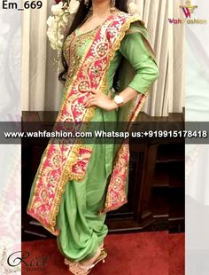 Give yourself a stylish & designer look with this Mesmeric Green Embroidered Punjabi Suit. Embellished with lace work. Available with matching bottom & dupatta. It will make you noticable in special gathering. we can design this suit in any color combination or on any fabric. Just whatsapp us for more details.  For More Details Whatsapp Us : +919915178418