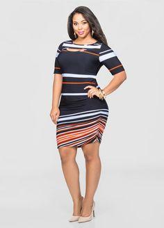 Peek-A-Boo Neck Shirred Side Dress