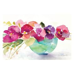 Artissimo Bowl Of Blooms Canvas Wall Art