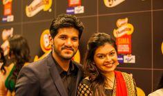 Vijay Yesudas with his wife at SIIMA 2013