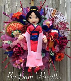 Mulan Party, Disney Wreath, Princess Wreath, Princess Decor, Princess Party, Everyday Wreath  Welcome your everyday with a Kick Butt Princess~ its