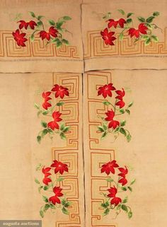 """Arts & Crafts embroidered curtain, c1910; Natural linen, embroidered double Greek key design: golden yellows on valance and rust with light green along outside panel edge, naturalistic shaded red poinsettia blossoms and vines embroidered w/in Greek key border, 45.5""""X90"""" (sold for 180$)"""