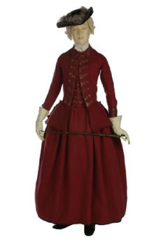 ca. 1770-1775 This is another example of a women's riding habit. Here we see the waist coat is shorter than a man's would have been, but it has the same basic idea. The cinched waist allows for the bottom of the waist coat to flow out, covering the top of the petticoat. This would have been worn for outdoor activities such as walking, and sometimes riding horses. Website: http://www.vam.ac.uk/content/articles/i/interactive-womans-red-wool-riding-habit-1770-1775/
