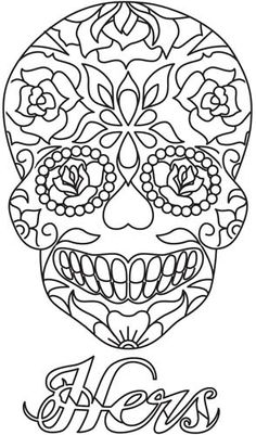 "Sugar Skull - Hers design (UTH5319) from UrbanThreads.com 5.63""w x 9.37""h"