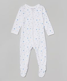 Look what I found on #zulily! White & Blue Stars Organic Footie - Infant by Pumpkin & Peter #zulilyfinds