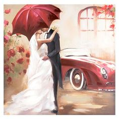 Add a touch of romance to your home with this Stolen Kiss Canvas Art Print. Wedding Drawing, Wedding Art, Cute Couple Comics, Couple Painting, Umbrella Wedding, Umbrella Art, Couple Drawings, Canvas Art Prints, All Art