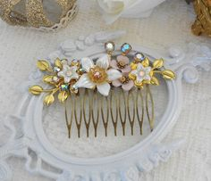 Vintage Flower Collage, Wedding Fascinator, Floral Hair Comb, Bridal Hair Accessories, Assemblage Hair, Vintage Bride, Aurora Borealis Comb by LisamariesPiece