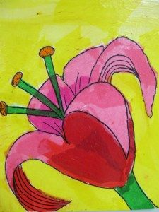 Painting with tissue paper - elementary art lesson - flower
