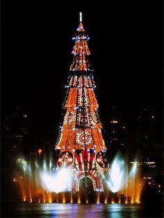A floating Christmas tree in Rio de Janeiro, Brazil