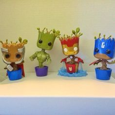 How cute are these Avenger Groot Funko Pop? Just love these customs. Pop Custom, Custom Funko Pop, Funko Pop Vinyl, Funko Pop Figures, Pop Vinyl Figures, Funko Pop Supernatural, Funko Pop Display, Funko Pop Exclusives, Pop Toys