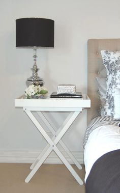 White Butlers Tray Table- perfect as a bedside for the spare room. Bedside Table Styling, Bedside Table Decor, Bedside Tables, Table Lamp, Butler Table, Butler Tray, Butlers Tray Table, Home Bedroom, Bedroom Decor