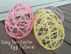 húsvéti dekoráció - fonal tojás Spring Crafts, Holiday Crafts, Fun Crafts, Paper Crafts, Daycare Crafts, Spring Art, Holiday Fun, Hoppy Easter, Easter Eggs
