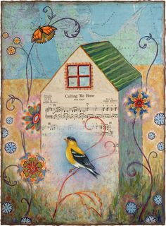 art, print, bird, butterfly, whimsical, house, map, music, mixed media, collage, by Rachel Paxton
