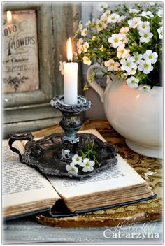 Tarnished candle holder burning white candle vintage book and white flowers. Picture from - Cat-arzyna Tarnished candle holder burning white candle vintage book and white flowers. Picture from - Cat-arzyna Shabby Chic Furniture, Rustic Furniture, Sweet Home, Vibeke Design, Romantic Homes, Candle Lanterns, Fire Candle, Cozy Cottage, Decoration