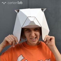 careta mascara origami oso cartonlab