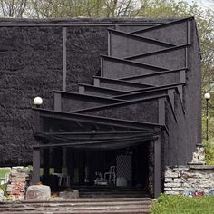 A theater made entirely out of straw. Yes, straw as in hay spray painted black. Location: Estonia.