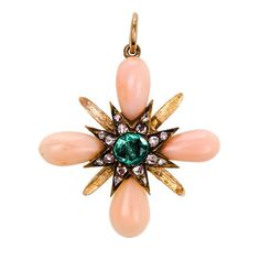 Lovely Antique Angelskin Coral Emerald and Diamond Pendant | From a unique collection of vintage pendant necklaces at https://www.1stdibs.com/jewelry/necklaces/pendant-necklaces/