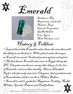 Emerald Gemstone Meaning, facts about Emeralds including History Legend and Folklore