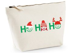 "Christmas ""Ho Ho Ho!"" vanity toiletry makeup cosmetics bag by ZoeEdenWeddings on Etsy"