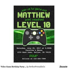 Video Game Birthday Party Invitation Ideal For A Gamers Special Day And Features Viedo