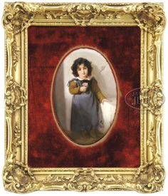 KPM porcelain plaque ~ Depicting a young girl in peasant clothes holding a pink flower ~ The girl has piercing ~ sad eyes and dark curly hair ~ Plate is signed ~ Origin Germany Circa ?