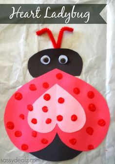 This is an easy heart Valentines day craft for the kiddos to do! All you need is red/pink/black construction paper, red paint, red pipe cleaner, glue, scissors, and two googly eyes. Start by cutting out a black circle from construction paper for the body and then a small oval for the ladybugs head. Take some red paper and cut out a heart as big as the body part. Turn it upside down and glue it on to make the ladybugs wings. Add a smaller pink heart in the middle. Grab some googly eyes and a…
