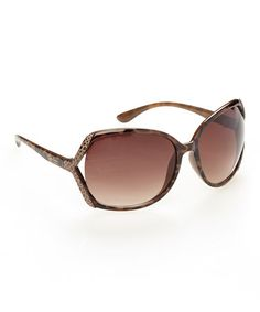 Jessica Simpson Brown Amber Oval Sunglasses