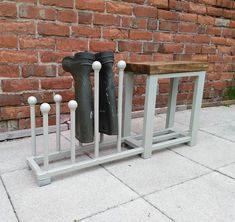 Welly rack, boot rack, Shoe rack, hallway bench with shoe rack to base rustic industrial various colours available - Top Handmade UK Boot Storage, Bench With Shoe Storage, Outdoor Shoe Storage, Smart Storage, Storage Baskets, Kitchen Storage, Industrial Shoe Rack, Rustic Industrial, Rustic Modern