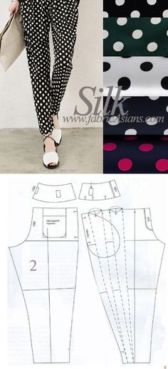 How to sew loose pants. FREE loose pants sewing pattern by fabricAsians.etsy.com