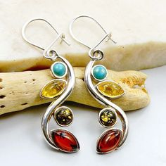 Long Baltic Amber Earrings Turquoise Earrings & by TheSilverPlaza