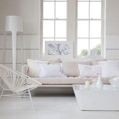 Serene All White Living Room Design Ideas