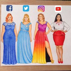 Social media street media Which one? Social media-inspired Plus Size models hope you like it App Drawings, Art Sketches, Dress Drawing, Drawing Clothes, Drawing Art, Cute Disney Drawings, Cute Drawings, Amazing Drawings, Beautiful Drawings