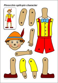 A set of printable body parts which can be assembled into a Pinocchio puppet using split-pins. Pinocchio, Paper Puppets, Paper Toys, The Marionette, Puppet Crafts, Vintage Paper Dolls, Jumping Jacks, Craft Activities, Coloring Pages