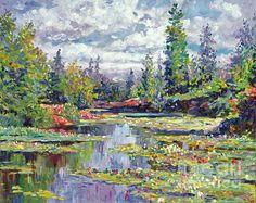 Waterlilies Bloom Canvas Print / Canvas Art by David Lloyd Glover Impressionist Paintings, Impressionism, Landscape Paintings, Acrylic Paintings, Oil Paintings, Landscapes, Different Art Styles, Canvas Art, Canvas Prints