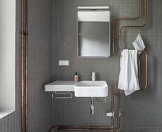 Karhard Berlin Exposed Copper Pipes as Towel Warmer, Remodelista