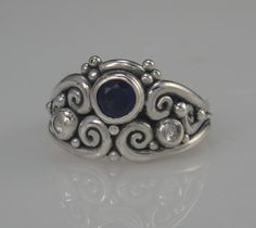 Sterling Silver Ring with Synthetic Blue by DenimAndDiaJewelry, $300.00