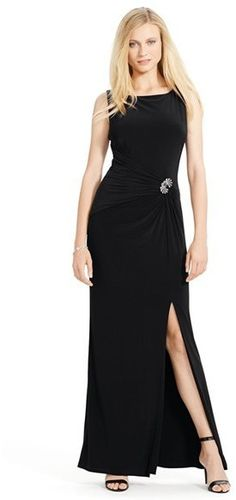 beeaddf2 Ralph Lauren Formal Gown Sleeveless evening gown by Ralph Lauren. Low cowl  neck and knee high slit. Added brooch comfortable material which adjusts  for ...