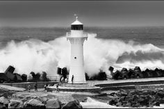 Wollongong lighthouse during big surf last year. Australia Photos, Black And White Photography, Landscape Photography, Singapore, Surfing, Old Things, Lighthouses, Waves, Ocean
