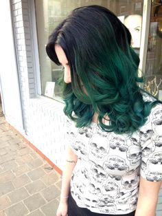Teal ombre. Good article about what you're getting yourself into about dying dark hair to a crazy color :)