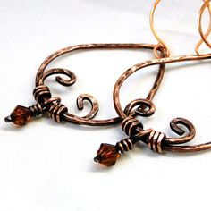 Indian Inspired Jewelry, Hammered Earrings, Wire Wrapped Jewelry, Antiqued Copper Earrings. $23.40, via Etsy.